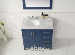 Large 900MM Royal Blue Vanity Unit Basin Marble Worktop Floor Standing