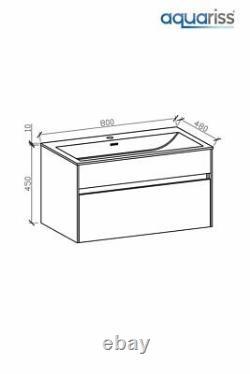 Luxury 800mm Ash Single Drawer Bathroom Furniture Wall Hung Vanity Unit + Basin