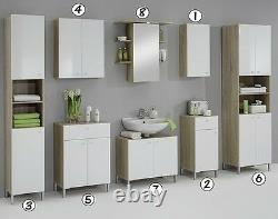 Luxury Bilbao Matching White & Washed Oak Bathroom Vanity Unit Cabinets Cupboard