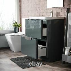 Lyndon 600mm Freestanding Bathroom Dark Grey Gloss Vanity Unit And Resin Basin