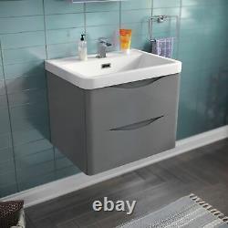 Lyndon Bathroom Light Grey Wall Hung Storage Furniture Basin Vanity Unit 600mm