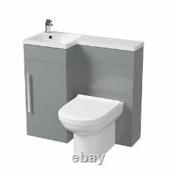 Manifold Bathroom Light Grey LH Basin Sink Vanity Unit WC Back To Wall Toilet