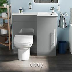 Manifold Bathroom Light Grey RH Basin Sink Vanity Unit WC Back To Wall Toilet