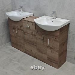 Mediterranean 1450 Double Basin Sink Vanity Unit Set Bathroom Walnut Oak Finish