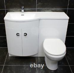 Millie P Shape 1100mm Curved Vanity Set Bathroom Suite Sink Basin + Toilet Unit