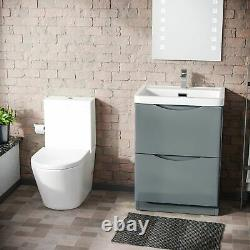 Modern 600 mm Grey Basin Sink Vanity and Close Coupled Toilet Lyndon