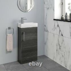 Modern Bathroom Basin Sink Vanity Unit Furniture 1 Tap Hole 400mm Charcoal Grey