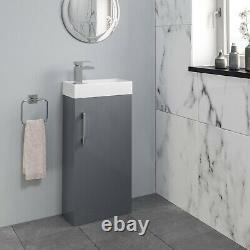 Modern Bathroom Basin Sink Vanity Unit Furniture 1 Tap Hole 400mm Gloss Grey