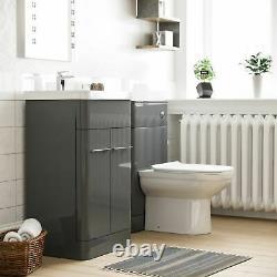 Modern Bathroom Grey Vanity Unit and WC Toilet Suite Basin Sink Cabinet Torex