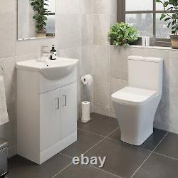 Modern Bathroom Suite Toilet Pan WC 550mm Vanity Unit Basin Sink White Gloss