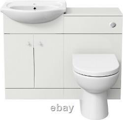 Modern Bathroom Toilet & Basin Sink Vanity Unit 1TH Furniture 1050mm Matte White
