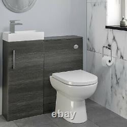 Modern Bathroom Toilet & Basin Sink Vanity Unit Furniture 900mm Charcoal Finish