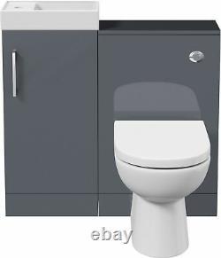 Modern Bathroom Toilet & Basin Sink Vanity Unit Furniture 900mm Gloss Grey