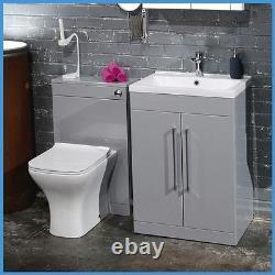 Modern Grey Vanity Unit & WC Unit Bathroom Furniture Cabinet Basin BTW Toilet
