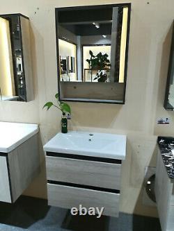 Modern Wall Hung Vanity Unit Bathroom Sink Cabinet in Grey Oak 600MM Pull Out