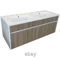 Modern Wave 1200mm Double Basin Vanity Bathroom Unit Oak and White Gloss