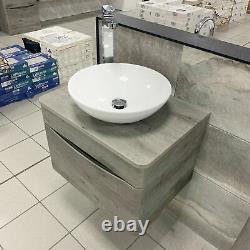 Moonstone Dark Grey Concrete Wall Hung Vanity Unit + Wok Basin + Tall Tap