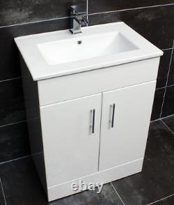 Naomi 600mm Square Vanity Unit + Ceramic Basin Sink Bathroom Storage White Gloss
