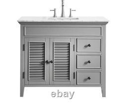 New Large 1000 MM Vanity Unit Marble Worktop Grey Floor Standing Basin