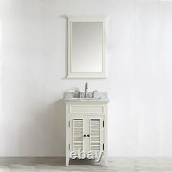 New Large 600 MM Antique White Vanity Unit Marble Worktop Floor Standing Basin