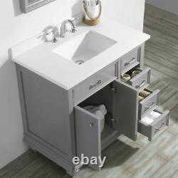 New Large 900 MM Vanity Unit Marble Worktop & Mirror Grey Floor Standing Basin