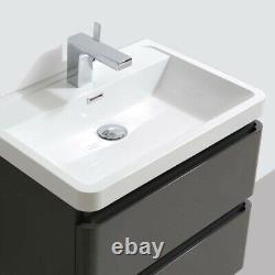 Newbold Anthracite Grey 600mm Bathroom Vanity Unit Wall Hung Sink 2 Drawers