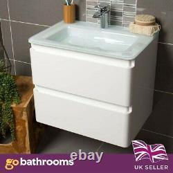 Newbold Gloss White Bathroom Wall Hung Unit White Glass Basin Sink 60cm