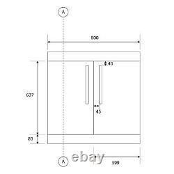 Newton Grey Gloss Bathroom Vanity Unit Floor Storage Ceramic Sink Basin 800mm