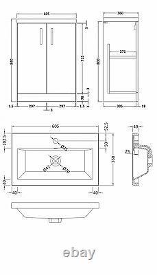 Nuie Arno Floor Standing 2-Door Vanity Unit & Ceramic Basin 600mm Gloss Grey