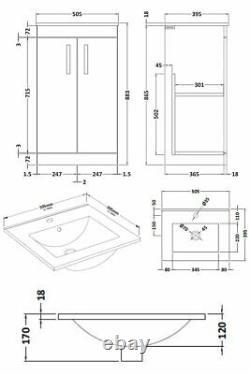 Nuie Athena Floor Standing 2-Door Vanity Unit Basin 2 Brown Grey Avola 500mm