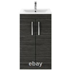 Nuie Athena Floor Standing 2-Door Vanity Unit Basin 2 Hacienda Black 500mm