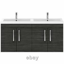 Nuie Athena Wall Hung 4-Door Vanity Unit Double Basin 1200mm Hacienda Black