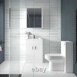 Nuie Eden Floor Standing 2-Door Vanity Unit and Basin 2 Gloss White 500mm