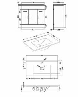Nuie Eden Floor Standing 3-Door Vanity Unit Basin 2 Gloss White 800mm Wide