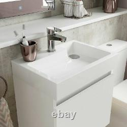 Nuie Merit Wall Hung 1-Door Vanity Unit with L-Shaped Basin 500mm Gloss White