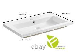 Oak Bathroom 60cm 600mm Vanity Unit Basin Sink Wall Hung Drawers Cabinet Capri