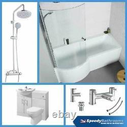 P Shaped Bathroom Suite 1700 Bath 550 Vanity Unit BTW Toilet WC Taps & Shower