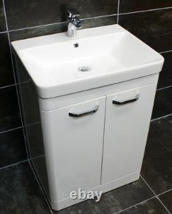 Pacific Curved Bathroom Vanity Sink Units Ceramic Basin White 500mm 600mm