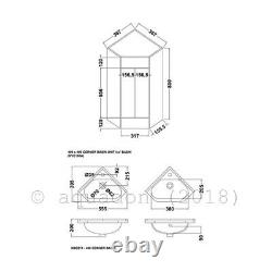 Premier Bathroom Corner Vanity Unit with Basin 550mm Wide 1 Tap Hole