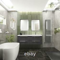 Quartet Double Vanity Unit with Basin 1440mm QUA002 Gloss Grey Wall Mounted