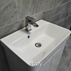 Ross White Gloss Curved Vanity Basin Sink Unit 550mm or 700mm Width
