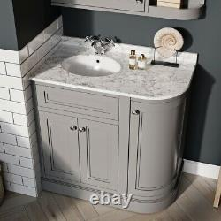 Rowan Traditional Grey Curved Vanity Storage Unit inc Sink Marble Top-Right Hand