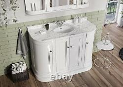 Rowan Traditional White 120cm Curved Vanity Storage Unit Ceramic Sink Marble Top