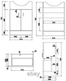 Royan Toilet 550mm Cloakroom Suite Vanity Unit WC Basin Sink White Soft Close
