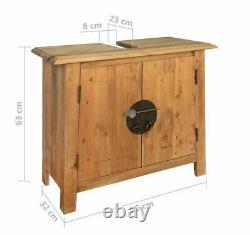 Rustic Bathroom Vanity Unit Solid Wood Storage Cabinet Vintage Style Furniture