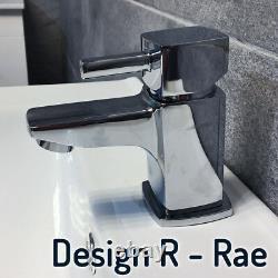 Savu 600mm Square Vanity Unit & Ceramic Basin Sink Bathroom Drawer White Gloss