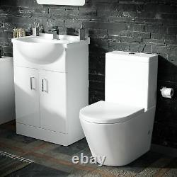 Senore Bathroom Suite 1700x700mm Bath Close Coupled WC Toilet Basin Vanity Unit