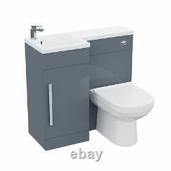 Small 900 Grey L-Shape LH Vanity Unit Sink and Toilet Bathroom Furniture Debra