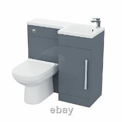 Small 900 Grey L-Shape RH Vanity Unit Sink and Toilet Bathroom Furniture Debra