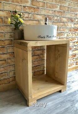 Solid Beam Basin Vanity Unit Wash stand Rustic Furniture Belfast Butler sink